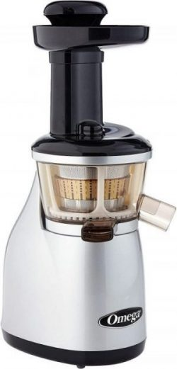 Omega Vertical Low-Speed Juicer, 150-Watt, Silver color